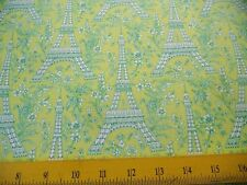 SALE M Miller Fabric  Green Eiffel Towers & Flowers on Chartreuse 4 Quilts