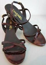 Chanel Burgundy/Red Strappy Patent Leather Block Heel Sandals Sz 36/6 Rt. $1,250