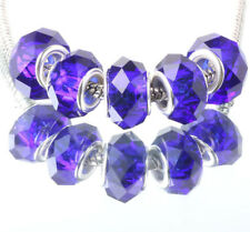 5Pcs Blue Fashion Silver Murano Crystal Facets Beads Fit European Charm Bracelet