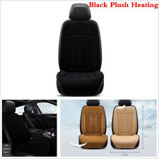 1X12V Warmer Heated Front Seat Cushion in Winter Car Van Home Chair Black Plush