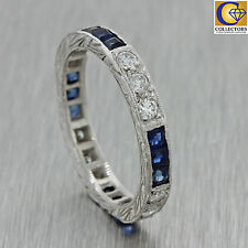 1920s Antique Art Deco Solid Platinum 1.08ctw Diamond Sapphire 2mm Band Ring