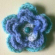 Foxy Flowers Hand Crochet Blue/Cream Flower - 8cm - Corsage/Brooch - Ideal Gift