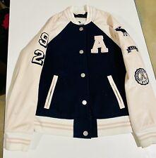 Abercrombie Fitch Girls Kids Pink Blue Varsity Style Jacket Size 9/10 Coat