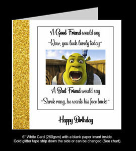 'Shrek Wants His Face Back', Best Friend Birthday Card, Funny Card, Handmade