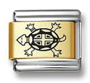 Italian Charm Bracelet Laser Sea Turtle 9 mm Gold Plated Stainless Steel Link
