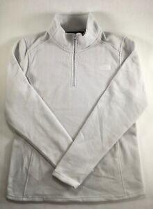 The North Face 1/4 Zip Glacier Fleece Pullover Top Shirt Light Grey L DEFECT