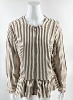 Denim & Co Womens Jacket Size Medium Tan White Striped Peplum Ruffle Zip Up NEW