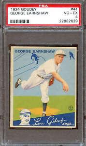 1934 Goudey #41 George Earnshaw PSA 4 22982629