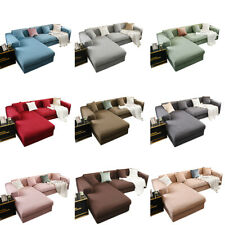 Jacquard L Sofa Cover 1-4 Seater Slipcover Couch Settee Protector Solid Colors