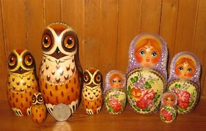 SLIGHT SECONDS 2 Small Matryoshka sets Russian painted nesting dolls 4 Babushkas