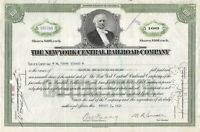 The New York Central Railroad Company 100 Share Capital Stock Certificate