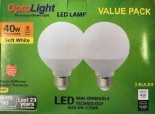 OptoLight LED Globe Vanity Smart Bulbs, G25, 2 Pack, 450 Lumens, 5W=40 Watt