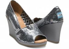 NEW Authentic TOMS Pewter Sequin  Wedge, Women Size 5,  Open Toe