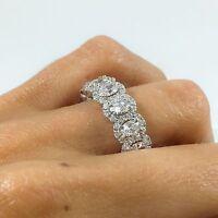 18K White Gold Oval Diamond Halo Eternity Ring Engagement Anniversary Band