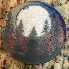 Fir tree Coaster Raku Pottery, handmade, handsigned - NEW