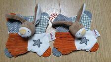 2 Doudous BENGY lapin chien plat orange marron gris blanc pois dentition étoile