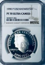 1990-P Eisenhower  Centennial Silver Dollar - NGC Proof-70 Ultra Cameo - Proof