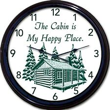 Cabin Lake Cottage Wall Clock Mountains Happy Place Lodge Vacation New 10""