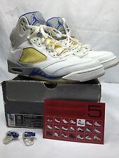 06 Nike Air Jordan V 5 Retro WHITE ROYAL BLUE STEALTH WOLF GREY 136027-142 Sz 13