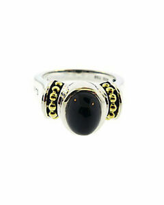 $495 Lagos Caviar Sterling Silver 18K Gold Onyx Ring Size 7