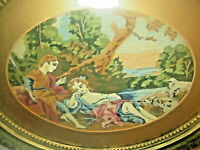 Antique Victorian Needlepoint Courting Scene Lovers Oval Framed Embroidery