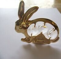 Figurine-  RABBIT  24K gold plated- Austrian crystals -clear