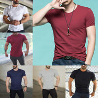 Fashion Men Round Neck Cotton T-shirt Slim Fit Short Sleeve Solid Casual Tops