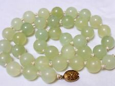CHINESE VINTAGE LARGE JADE 15mm BEAD NECKLACE, 148 grams