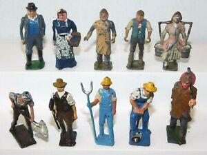 Old BRITAINS & CRESCENT England, 1950s Lead Farm Workers, Men & Women, 10 Pieces