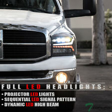 Topline For 2006-2009 Dodge Ram Full LED Sequential Projector Headlights - Black