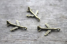 40pcs Airplane Charms bronze tone Mini Aircraft plane charm pendants 22x15mm