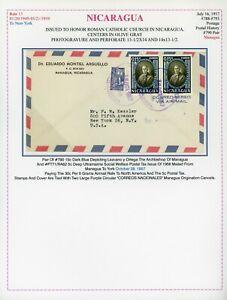 Nicaragua Catholic Church Cover LOT #202 1957 MANAGUA to KESSLER $$$