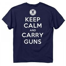 NRA Keep Calm & Carry Guns Men's T-Shirt, Buck Wear Shirt Navy Blue