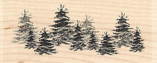 Brush Tree Line Trees Wood Mounted Rubber Stamp IMPRESSION OBSESSION NEW E7724