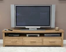 Nero solid oak furniture large widescreen plasma television cabinet stand unit