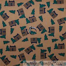 BonEful Fabric FQ Cotton Quilt Brown Green Log Cabin Xmas Tree Hunt Fish Pattern