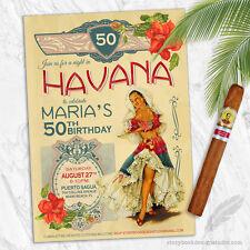 Havana Nights Cuban Birthday Party Invitations / Cuba Tropical PRINTED