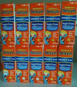 LOT 10 CHILDREN'S DELSYM COUGH+COLD NIGHTTIME BERRY FLAVOR 4 OZ EXP 3/2021+