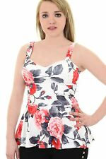 Womens Neon Floral Textured Crepe Padded Bra Cup Strappy Peplum Flared Top Print 2 UK 12