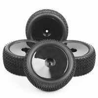 4Pcs 1/10 Scale Front & Rear Buggy Tires&Wheel Rims for RC Off-Road Racing Car