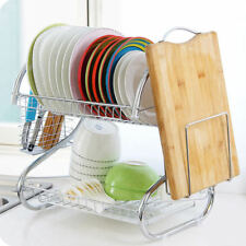 2-Tier Kitchen Dish Cup Drying Rack Drainer Dryer Tray Cutlery Holder Organizer