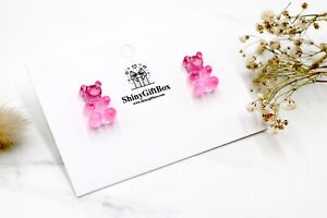 Gummy Bear / Novelty Candy Lollies Earrings Studs - Transparent Pink