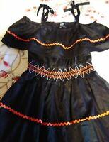 BARDOT JUNIOR GIRLS BLACK TIERED DRESS WITH ORANGE TRIM SIZE AUS 14.