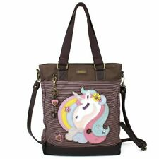 NEW CHALA PINK STRIPE MAGICAL UNICORN WORK TOTE PURSE FAUX LEATHER CANVAS