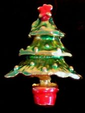 Vintage Gold Tone Metal Red & Green Enamel Christmas Tree Tac Pin & Clutch F/S
