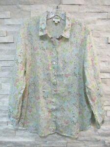 J. Jill Multicolor Pastel Floral Linen Button Front Casual Shirt Missy L