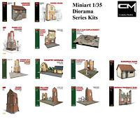 Miniart 1:35 Model Kit Diorama Bases - Various Ruined Buildings From WW2