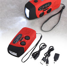 Dynamo Hand Crank Emergency Solar Power LED Flashlight Torch+Charger+AM/FM Radio