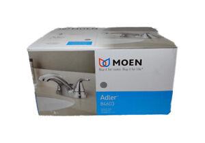 MOEN Adler 4 in. Centerset 2-Handle Low-Arc Bathroom Faucet in Chrome 84603