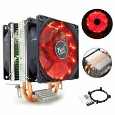 2 Heat Pipe LED Dual Fan CPU Cooler Heatsink for Intel LGA 1156 AMD AM2/2+/3/4